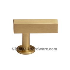 This brushed brass finish solid brass cabinet T-knob with square bar design is part of the Square Bar Series from Lew's Hardware. This knob features a simple geometric design that can be used in a traditional or modern setting.