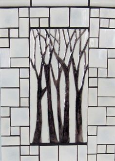 """<h5>Arbre Grande</h5><p>""""Arbre Grande"""" 6x12 hand-painted trees with Crackle #50 background and Mosaic blend.</p>"""