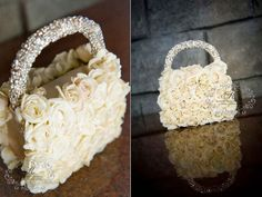 Glitzy rhinestone trimmed flower girl purse/hand bag