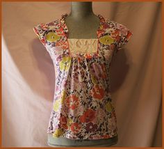 Anthropologie Blouse Size S By Ric Rac Floral Cap Sleeves Casual Roses Summer