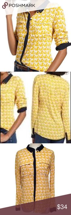 🐴 Anthropologie Maeve Horse print yellow Blouse Anthropologie Maeve Brand - mustard yellow w/ navy blue trim and red detail on trim, vintage inspired horse print button down Blouse - long sleeve - Size 2 - excellent condition - pockets on chest - 100% Rayon - buttons all the way down down with fold over collar ‼️FAST SHIPPING‼️ Anthropologie Tops Blouses