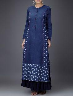Buy Indigo White Embroidered Dabu Printed Cotton Kurta Women Kurtas Gulaab E Neel dresses tops pants and… Pakistani Dresses, Indian Dresses, Indian Outfits, Pakistani Bridal, Salwar Designs, Blouse Designs, Kurta Designs Women, Indian Attire, Indian Wear