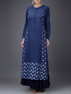 Indigo-White Embroidered Dabu-Printed Cotton Kurta