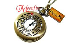 ALICE IN WONDERLAND White Rabbit I'm Late Pocket Watch Necklace