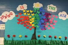 "3D butterfly bulletin board. ""Spring is in the Air"""