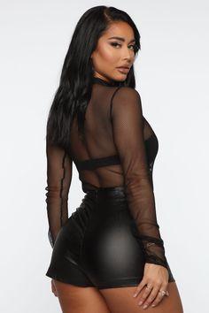 Bait Fishnet Bodysuit - Black – Fashion Nova Fishnet Bodysuit, Black Bodysuit, Funnel Neck, Sexy Hot Girls, Bait, Nova, Shopping, Shorts, Women