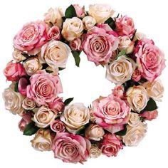 13 best fresh floral wreaths for lantern centerpiece images on rose and beige cream faux silk flower wreath lampsplus mightylinksfo