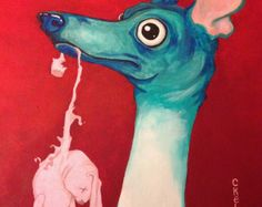 Italian Greyhound art print true Love greyhound whippet