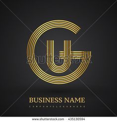 Letter GU or UG linked logo design circle G shape. Elegant gold colored letter symbol. Vector logo design template elements for company identity. - stock vector