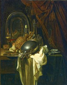 Willem Kalf (Rotterdam 1619 - 1693 Amsterdam), A still life with silver, pewter and gilt objects on a partly draped table Classic Paintings, Old Paintings, Paintings I Love, Dutch Still Life, Still Life Artists, Dutch Golden Age, Painting Still Life, Dutch Artists, Vanitas