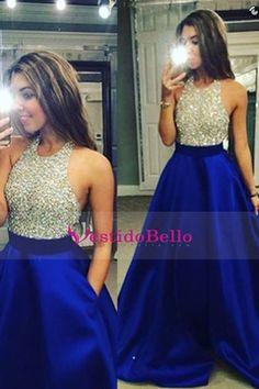 2016 Oscuro Azul real espalda abierta halter vestidos de baile con cuentas blusa…
