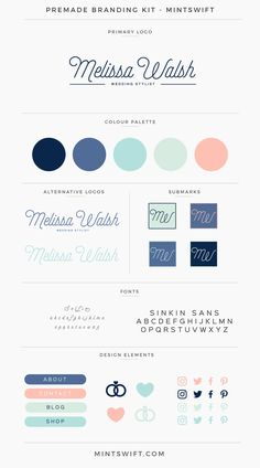 Melissa Walsh Premade Branding Kit Brand Kits & Mood Boards example for the Elevate Your Biz Emails™ eCourse by Boosting Your Brand™ Web Design, Website Design, Blog Design, Brand Identity Design, Corporate Design, Brand Design, Branding Kit, Business Branding, Kids Branding