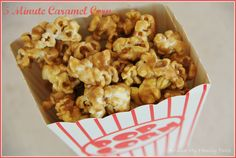 """""""5 Minute Caramel Popcorn...without corn syrup. Probably not as good as the stuff that takes forever, but a LOT easier."""""""