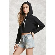 Forever21 Raw-Cut Hoodie ($15) ❤ liked on Polyvore featuring tops, hoodies, black, long sleeve tops, forever 21 hoodies, crop top, forever 21 tops and cropped hoodie