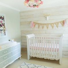 Accent Wall boho chic pink peach and cream with grey nursery. Shiplap / wood panel walls and flower mobile Baby Girl Nursery Themes, Baby Room Decor, Nursery Ideas, Girl Nurseries, Wood Nursery, Nursery Room, Baby Bedroom, Pink Accent Walls, Pink And Gray Nursery