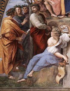 Raphael (Raffaello Sanzio), 1483-1520, Italian, The Parnassus (detail), 1509-10.  Fresco.  Stanza della Segnatura, Vatican.  High Renaissance.