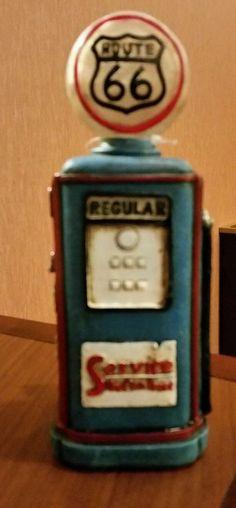 Blue Resin Route 66 Gas Pump w/ LED Light Man Cave Garage Home Decor Women  | eBay