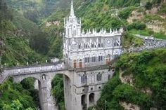 Las Lajas Sanctuary is located on the border of Ecuador and Colombia. The basilica is built in a canyon over the Guáitara River in a town called Ipiales, located 15 minutes into Colombia Oh The Places You'll Go, Places To Travel, Travel Destinations, Places To Visit, Monuments, Beautiful World, Beautiful Places, Beautiful Sites, Wonderful Places