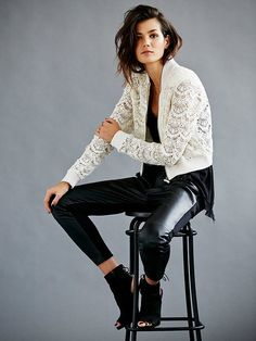 White lace top, black leather trousers, heels. Street fall autumn women fashion outfit clothing style apparel @roressclothes closet ideas