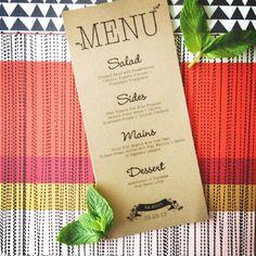 Printable Wedding Menu. #kraftpaper #menu #rustic #wedding https://www.etsy.com/ca/shop/FreckledStationery