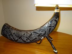 Celtic dogs enterlacing / Carved Animal Legs / Horn from Water Buffalo