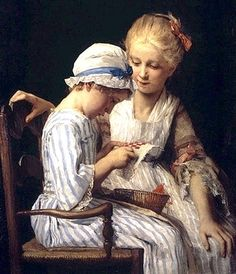Les petites brodeuses. Huile sur toile en 1875 de Albert Anker (suisse 1831-1910) Musée cantonal des Beaux-Arts de Lausanne SUISSE
