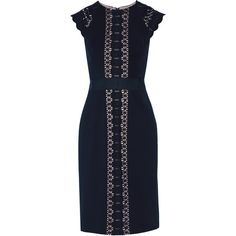 Catherine Deane - Inge Guipure Lace-paneled Cady Dress (4.770 ARS) ❤ liked on Polyvore featuring dresses, midnight blue, catherine deane, lacy dress, catherine deane dresses, lace panel dress and blue lace dress