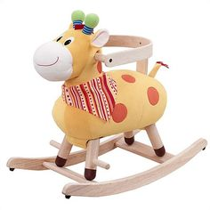 (adjustable for baby or toddler) Featuring a giraffe-inspired design and plush cushioned seat, this classic rocking toy makes a lovely addition to the playroom or library. Baby Play, Baby Kids, Educational Baby Toys, Baby Rocker, Ride On Toys, Little Ones, Gifts For Kids, Design, Rocking Horses