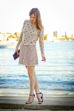 Gold sequins skirt and embellished top - dressed up! #fashion #outfit