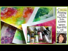 Kate Crane / Kate Crane: The Kathryn Wheel shows how to use the new Ranger Ink Dina Wakley Media GLOSS Sprays with Gel Press in Part ONE of this week's Gelli Plate Printing, Gel Press, Gelli Arts, Ranger Ink, How To Distress Wood, Handmade Crafts, Crane, Paper Cutting, Sprays