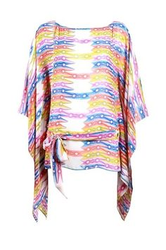 Turquoise and Gold clip hanger print kaftan top : Rs. 11,250/- | Findable.in