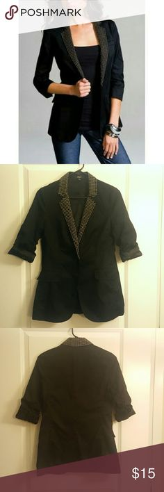 Sold! Express Black Boyfriend Blazer Bring a little flair to your work wardrobe with this black boyfriend blazer from Express. A longer length blazer with gold stud detail on the collar and lapels, faux pockets, and single button closure. Size 0.   An excellent, edgy addition to your office collection, or to take your outfit to the next level. Excellent condition, no studs missing. Selling as it's too long on my shorter torso. Express Jackets & Coats Blazers