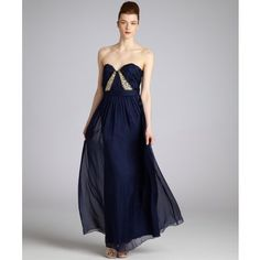 A.B.S. by Allen Schwartz Midnight Navy Pleated Chiffon Jeweled Strapless Gown ($102) found on Polyvore