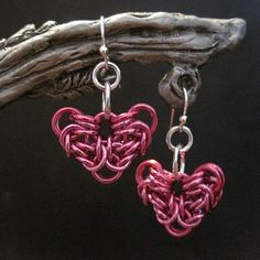 Pink Byzantine Chainmaille Heart Earrings
