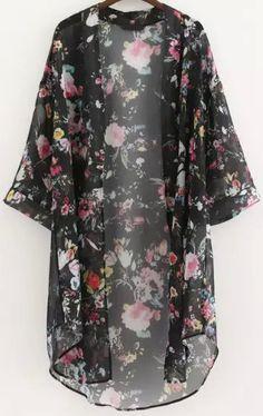 Kimono manga media flores -negro 13.18