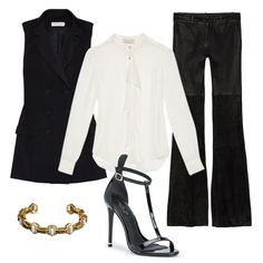 Wear this to work on Monday. Add extra polish to a blouse and trouser combo with a chic black vest (this one from Rachel Zoe collection). A ladylike t-strap heel and cuff bracelet finish off the office-ready look. Love this vest? Enter to win one for yourself and a friend, details here.