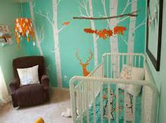 modern woodland decor - in love with the blue and orange, the modern mural, and the light!