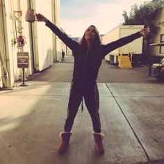 Lea Michele in a onesie on the Glee set