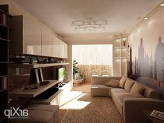 minimalist design for small living room with l shaped sofa and
