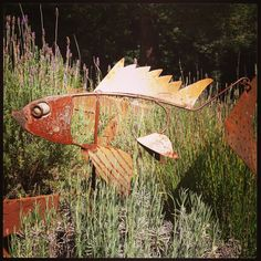 Scrap metal fish sculpture in the lavender. www.modwalls.com