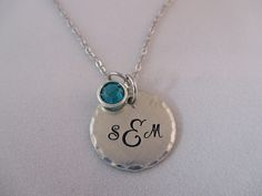 Pewter Monogram Disc Necklace