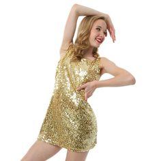 Youth Gia Mia Sequin Tank Dress Gold Small Jazz Shoes 75e0f6c63