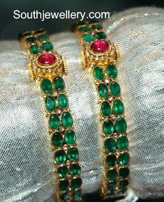 Emerald Bangles latest jewelry designs - Page 3 of 6 - Indian Jewellery Designs Ruby Bangles, Gold Bangles, Bangle Bracelets, Bangle Set, Necklaces, Emerald Jewelry, Diamond Jewelry, Emerald Necklace, Gold Jewellery