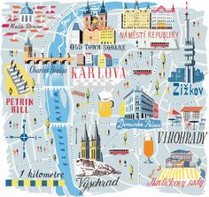 wanderlust illustration Anna Simmons - Prague Map for National Geographic Prague Map, Visit Prague, Prague Places To Visit, Prague Castle, Travel Maps, Travel Posters, Prague Christmas, Prague Winter, Christmas Markets