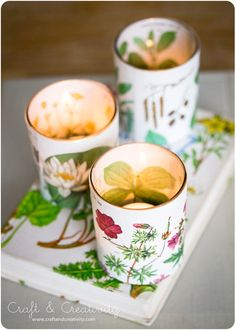 Making votives out of vintage botanical book pages - by Craft & Creativity