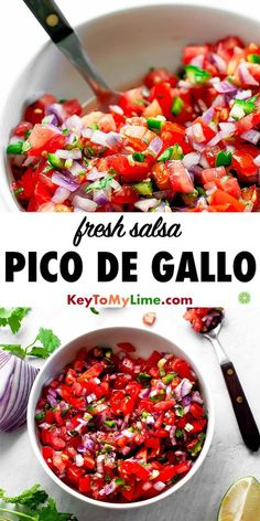 Fresh Pico de Gallo Salsa This is the BEST homemade fresh salsa recipe! Its so good and is the perfect mix of mildly spicy and flavorful. I love it with chips and on top of all my favorite Mexican food! High Protein Vegan Recipes, Healthy Recipes On A Budget, Vegetarian Recipes Dinner, Easy Holiday Recipes, Thanksgiving Recipes, Sauce Steak, Salsa Guacamole, Fresh Salsa Recipe, Mets