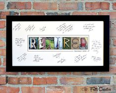 "maybe do something like this? Have everyone who comes sign it? but with actual pictures - not just the word ""retired"""