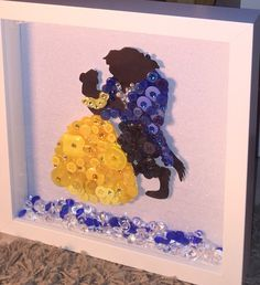 Disney's Beauty & The Beast Button Art Frame unique gift - Diy Jewelry Easy Disney Diy, Deco Disney, Disney Princess Crafts, Etsy Crafts, New Crafts, Crafts For Kids, Arts And Crafts, Yarn Crafts, Disney Button Art
