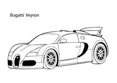 Super car Buggati Veyron coloring page, cool car printable free