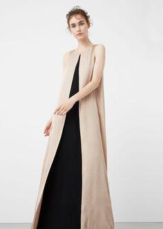 Vestido comprido capa dupla | MANGO